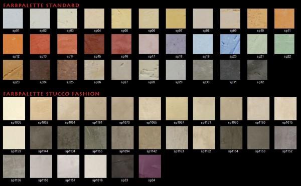 Stucco dekorsparkel fargekart